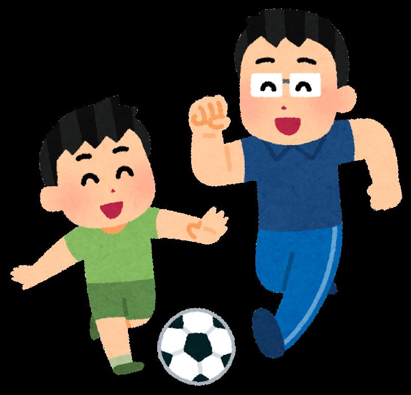 サッカーをする